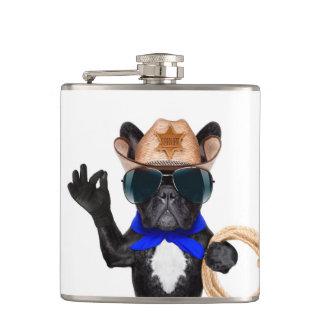 cowboy pug - dog cowboy hip flask