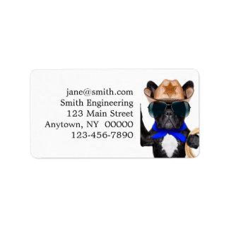 cowboy pug - dog cowboy label