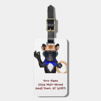 cowboy pug - dog cowboy luggage tag