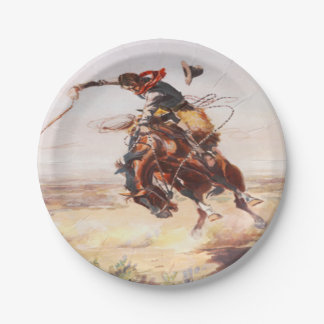 Cowboy Riding A Bucking Horse Party Plates 7 Inch Paper Plate