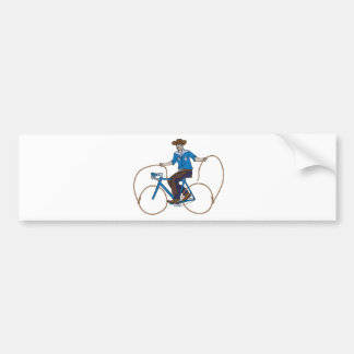 Cowboy Riding Bike With Lasso Wheels Bumper Sticker