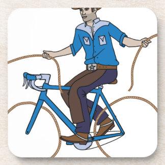 Cowboy Riding Bike With Lasso Wheels Coaster