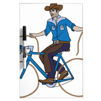 Cowboy Riding Bike With Lasso Wheels Dry Erase Whiteboards