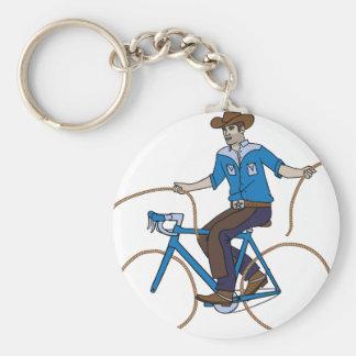 Cowboy Riding Bike With Lasso Wheels Keychain