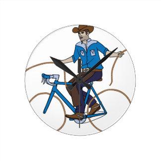 Cowboy Riding Bike With Lasso Wheels Round Clock