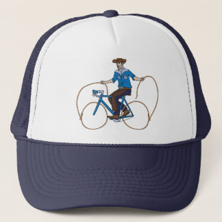 Cowboy Riding Bike With Lasso Wheels Trucker Hat