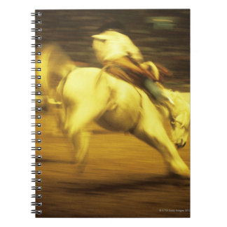 Cowboy riding bucking bronco in rodeo, side view spiral notebooks