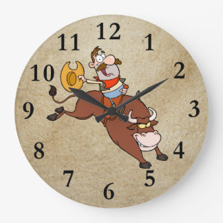 COWBOY RIDING BULL CLOCKS