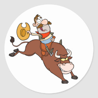 Cowboy-Riding-Bull-In-Rodeo Round Sticker