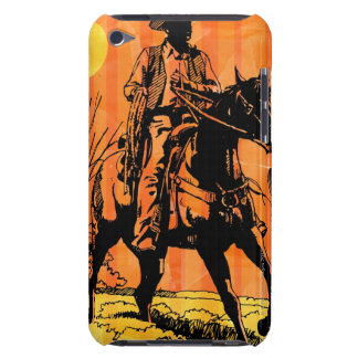 Cowboy riding horseback in desert barely there iPod cases