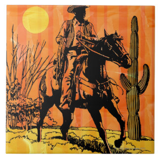 Cowboy riding horseback in desert ceramic tiles
