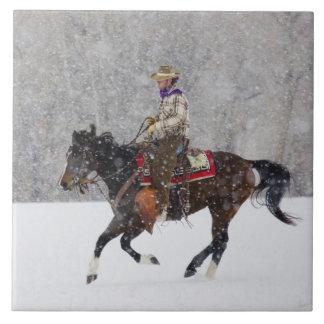 Cowboy riding in snowfall tile