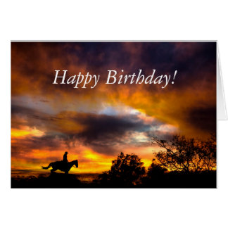 Cowboy Riding in the Sunset - Happy Birthday Card