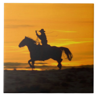 Cowboy riding in the Sunset with lariat Rope 2 Tile