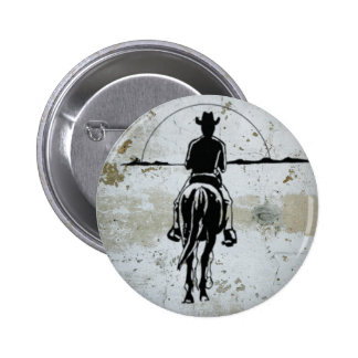 Cowboy Riding Into Sunset Western Horse 2 Inch Round Button