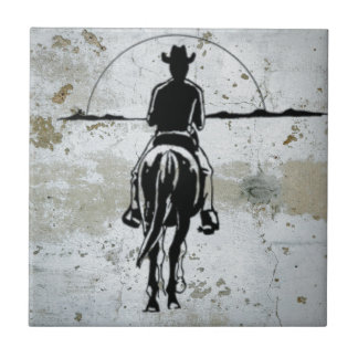Cowboy Riding Into Sunset Western Horse Tile