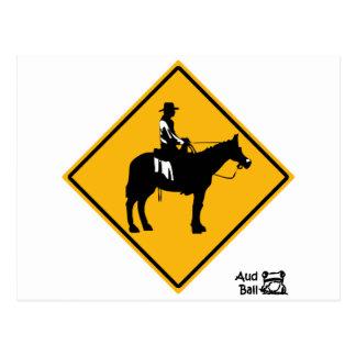 Cowboy road crossing sign postcard