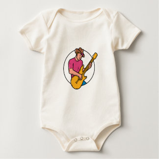 Cowboy Rocker Guitarist Mono Line Art Baby Bodysuit