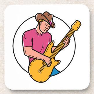 Cowboy Rocker Guitarist Mono Line Art Coaster