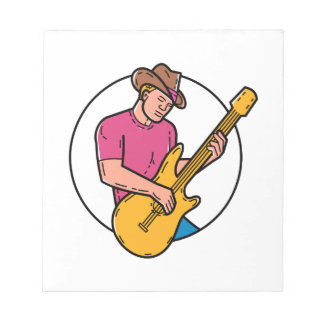 Cowboy Rocker Guitarist Mono Line Art Notepad
