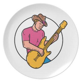 Cowboy Rocker Guitarist Mono Line Art Plate