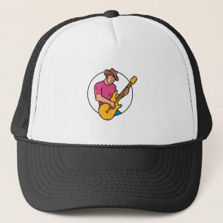 Cowboy Rocker Guitarist Mono Line Art Trucker Hat