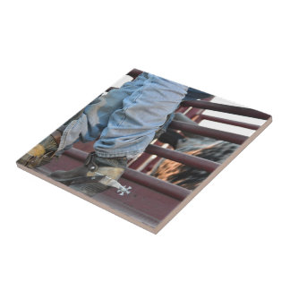 Cowboy Rodeo Bull Rider And Bull Chute Tile