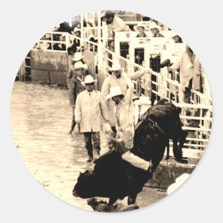 Cowboy Rodeo Round Sticker