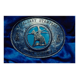 Cowboy rodeo trophy buckle, Alberta, Canada Poster