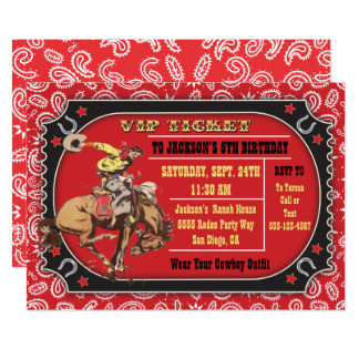 Cowboy Rodeo Western Birthday party Card
