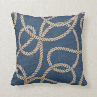 Cowboy Rope Pattern in Blue Throw Pillow