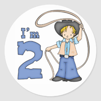 Cowboy Roper 2nd Birthday Classic Round Sticker