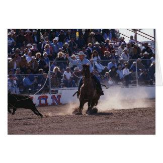 Cowboy Roping Calf at Rodeo Card