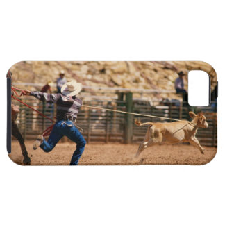 Cowboy roping calf in rodeo iPhone 5 case