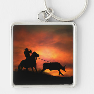 Cowboy Roping Key Chain