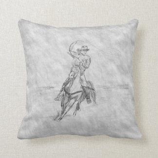 Cowboy Roping Throw Pillow