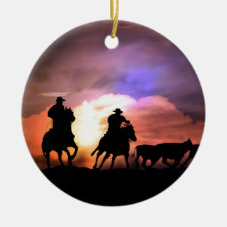 Cowboy round up/ cattle drive ceramic ornament