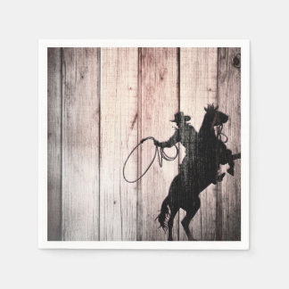 Cowboy Rustic Wood Barn Country Birthday Party Paper Napkin