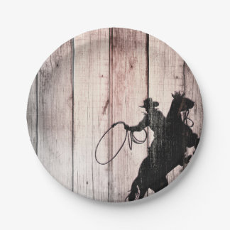 Cowboy Rustic Wood Barn Country Birthday Party Paper Plate