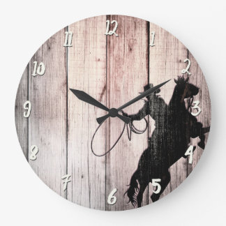 Cowboy Rustic Wood Barn Country Wild West Large Clock