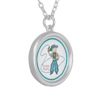 Cowboy Rusty Rodeo Lasso Tricks round Silver Plated Necklace