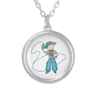 Cowboy Rusty Rodeo Lasso Tricks Silver Plated Necklace