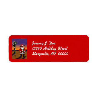 Cowboy Santa Cactus Tree Lights Christmas Labels