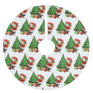 Cowboy Santa With Tree And Western Gifts Brushed Polyester Tree Skirt