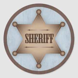 Cowboy Sheriff Badge Western Baby Shower Round Sticker