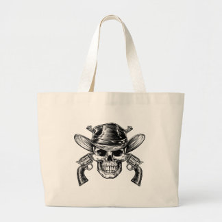 Cowboy Skull and Pistols Large Tote Bag