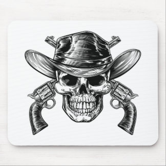 Cowboy Skull and Pistols Mouse Pad