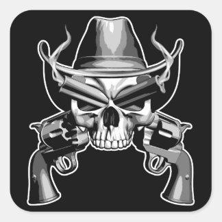 Cowboy Skull and Pistols Square Sticker