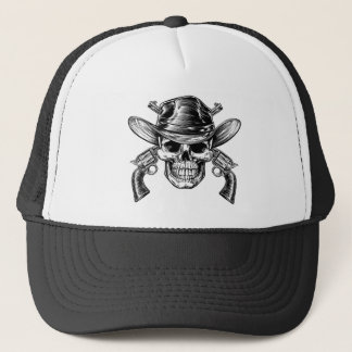 Cowboy Skull and Pistols Trucker Hat