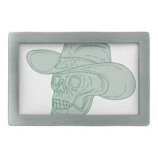Cowboy Skull Drawing Belt Buckle